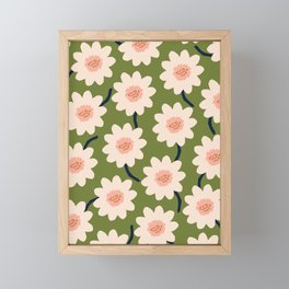 Flower field - green Framed Mini Art Print