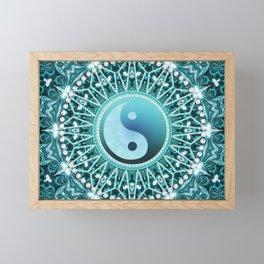 Tranquility Yin Yang Blue Aqua Mandala Framed Mini Art Print