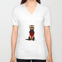 ferret V-neck T-shirts featuring Lovely Ferret by Olluga