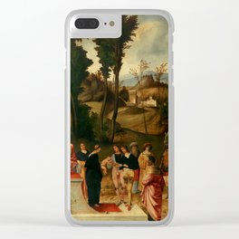 """Giorgione """"Moses undergoing Trial by Fire"""" Clear iPhone Case"""