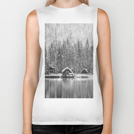 Cabin on the Water (Black and White) Biker Tank