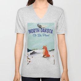 North Dakota Red fox travel poster Unisex V-Neck