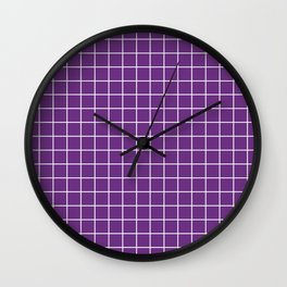 Eminence - violet color - White Lines Grid Pattern Wall Clock
