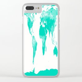 World Map Mint Turquoise Clear iPhone Case
