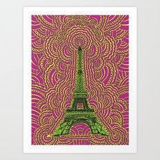 Eiffel Tower Drawing Meditation - Green/Pink/Yellow Art Print