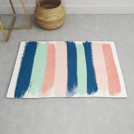 Stripes painterly pastel trendy color way modern home decor dorm nursery style Rug