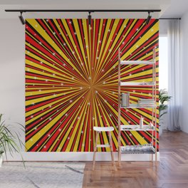 Red Yellow Black And Rays Background With Stars Wall Mural