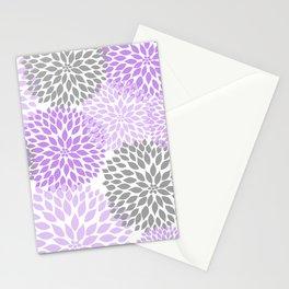 Lavender gray dahlias floral art Stationery Cards