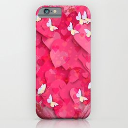 Pink Hearts and Butterflies Graphic Art iPhone Case