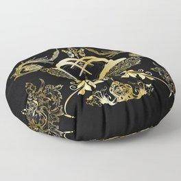 All Over Print Luxury Gold Baroque Obsidian Horns Motif Floor Pillow