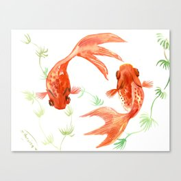 Koi Fish, Feng Shui, Goldfish art, Two fish, Canvas Print