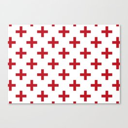 Crosses | Criss Cross | Plus Sign | Hygge | Scandi | Red and White | Canvas Print