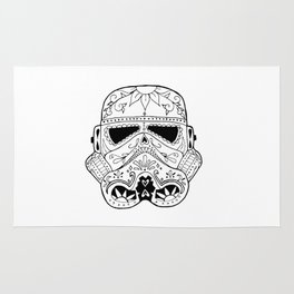 Day of the Death Star Stormtrooper Black and White Rug