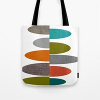 mid century modern Tote Bags featuring Mid-Century Modern Abstract Ovals by Kippygirl