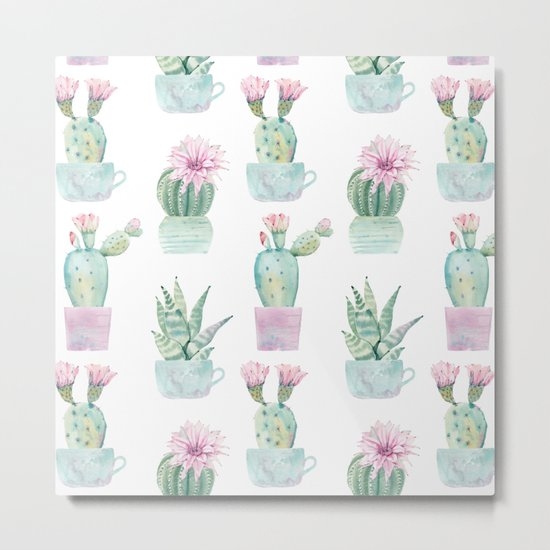 Simply Echeveria Cactus in Pastel Cactus Green and Pink Metal Print