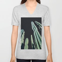 Green Cactus 8 at Night Unisex V-Neck