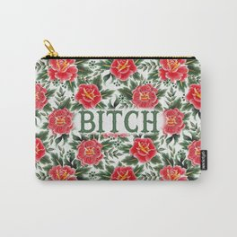 Bitch - Vintage Floral Tattoo Collection Carry-All Pouch