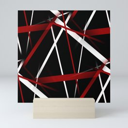 Seamless Red and White Stripes on A Black Background Mini Art Print