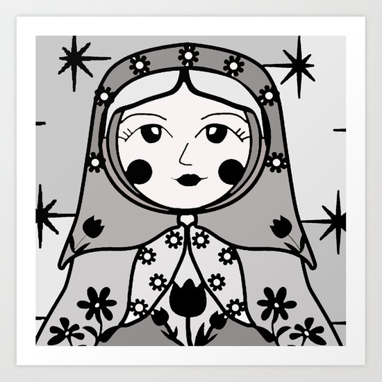 Matryoshka russian doll colorful illustration wall decor - Ira Art Print