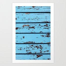 Blue Wooden Planks Art Print