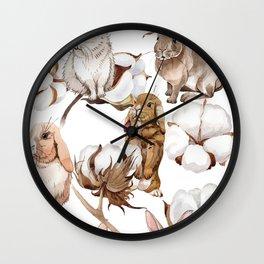 Cotton Flower & Rabbit Pattern 01 Wall Clock