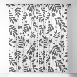 Branches and flowers - black and white Sheer Curtain