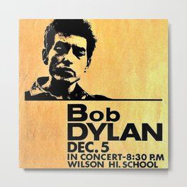 Vintage 1964 Bob Dylan at Wilson High School Poster Metal Print
