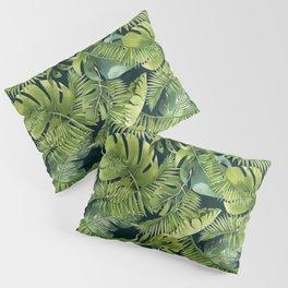Lush Green Monstera And Palm Leaf Pattern Pillow Sham