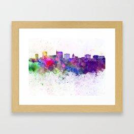 Boise skyline in watercolor background Framed Art Print