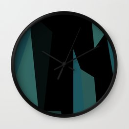 teal and black abstract Wall Clock