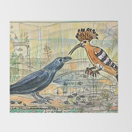 The Crow and the Hoopoe Throw Blanket