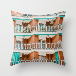 Apartment Building Facade Pattern Print, Architecture Print, Urban Photography, City Print, Abstract Residential Poster Throw Pillow