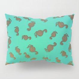 Copper Seahorses in an Aqua Sea Pillow Sham