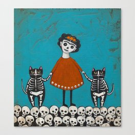 Day of the Dead Cats Canvas Print