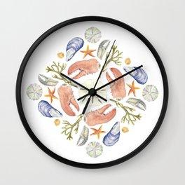 Tide Pool Beach Mandala 5 - Watercolor Wall Clock