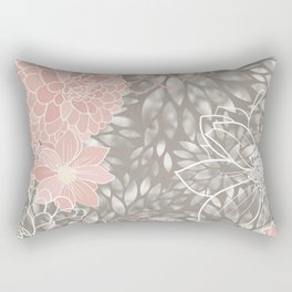 Floral Pattern Dahlias, Blush Pink, Gray, White Rectangular Pillow