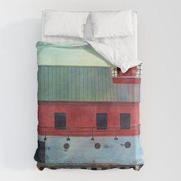 Grand Haven Outer lighthouse Focus Duvet Cover