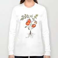 botanical Long Sleeve T-shirts featuring Tomato Botanical by CHAR ODEN