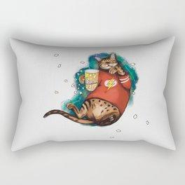 Cat Galaxy cinemaholic in superhero flash tshirt With popcorn Rectangular Pillow