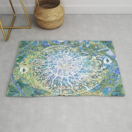 Spiral nature cycle- hand painted-holy geometry Rug