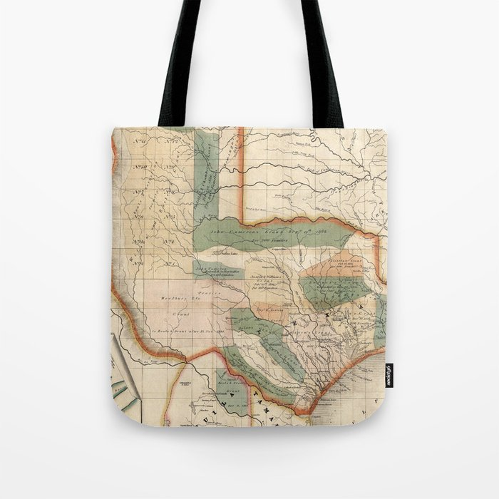 Map Of Texas 1835.Vintage Map Of Texas 1835 Tote Bag By Bravuramedia