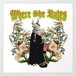 Astral Priestess: Victorian Flower Series, Where She Rules Art Print