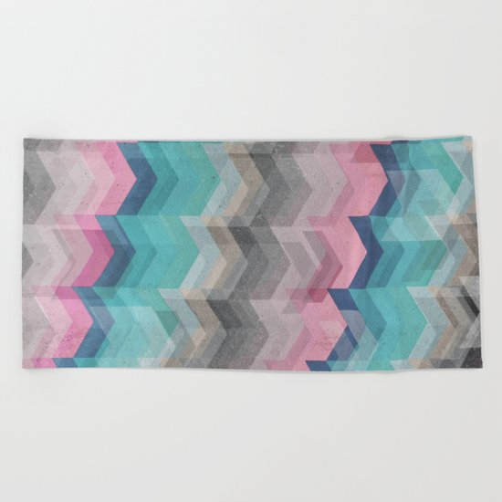 Colored Chevron  Beach Towel
