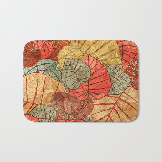 Leaves in Rosy Background 4 Bath Mat