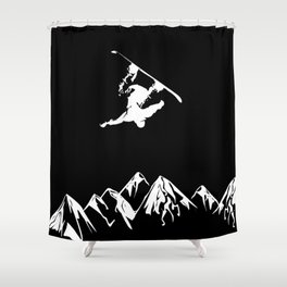 Rocky Mountain Snowboarder Catching Air Shower Curtain