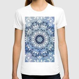 MAGICAL BLUE AND WHITE FLORAL MANDALA T-shirt