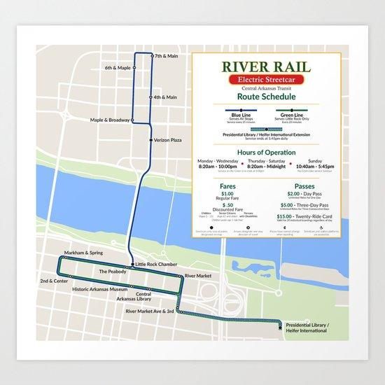 Little Rock Streetcar Map Art Print