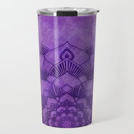 Deep Purple Lotus Mandala Travel Mug