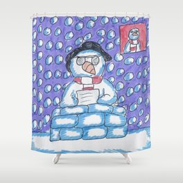 Christmas #12 Snow Newsreader Shower Curtain