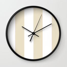 Wide Vertical Stripes - White and Pearl Brown Wall Clock